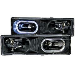 CHEVY/GMC C/K1500/2500 88-98 / C/K3500 88-00 / SUBURBAN 92-99 / BLAZER (full-size) 92-94 / TAHOE 95-99 / YUKON 92-99 CRYSTAL HEADLIGHTS BLACK
