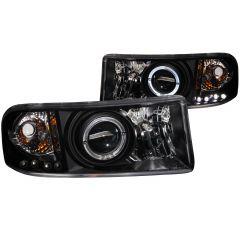 DODGE RAM 1500 94-01 / RAM 2500/3500 94-02/ RAM SPORT MODEL 94-98 PROJECTOR HEADLIGHTS HALO BLACK