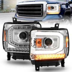 GMC SIERRA 1500 14-15/ 2500HD/3500HD 15-19 PROJECTOR  HEADLIGHTS LIGHT BAR CHROME (HALOGEN TYPE MODEL W/ FACTORY DRL)