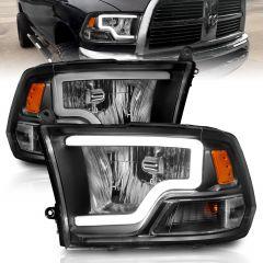 DODGE RAM 1500 09-18 / 2500/3500 10-18 CRYSTAL HEADLIGHTS W/ LIGHT BAR BLACK HOUSING