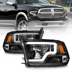 DODGE RAM 1500 09-18 (W/O QUAD) / RAM 2500/3500 10-18 FULL LED HEADDLIGHTS BLACK AMBER (STANDARD TYPE) (LIGHT BAR)