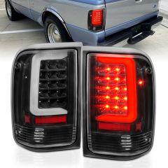 FORD RANGER 93-97 LED TAIL LIGHTS BLACK HOUSING CLEAR LENS (W/ C LIGHT BAR)