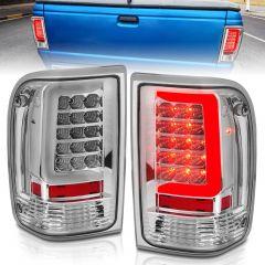 FORD RANGER 93-97 LED TAIL LIGHTS CHROME HOUSING CLEAR LENS (W/ C LIGHT BAR)