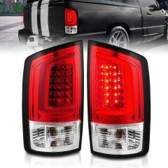 DODGE RAM 1500 02-05 / RAM 2500/3500 02-06 LED TAIL LIGHTS RED/CLEAR LENS W/ C LIGHT BAR