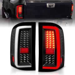 CHEVROLET SILVERADO 1500 07-13 / 2500HD/3500HD 07-14/ 1500 HYBRID 09 LED TAIL LIGHTS G5 BLACK HOUSING CLEAR LENS (W/ WHITE LIGHT BAR)