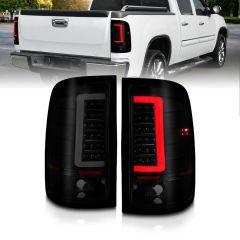 GMC SIERRA 1500 07-13 (EXCEPT '07 CLASSIC) / SIERRA 2500/3500 '07-'14 (SINGLE REAR WHEEL) LED TAIL LIGHTS BLACK HOUSING SMOKE LENS W/ C LIGHT BAR