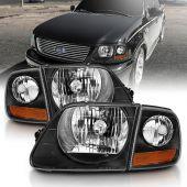 FORD F-150 97-03 HEADLIGHTS G2 BLACK W/ PARKING LIGHTS