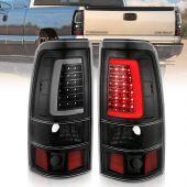 CHEVY SILVERADO 1500/1500HD/2500/2500HD 99-02 3500 01-03 GMC SIERRA 1500/1500HD/2500/2500HD 99-06 3500 01-06 SIERRA CLASSIC 07 LED TAILLIGHTS PLANK STYLE  BLACK W/CLEAR LENS