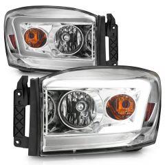 DODGE RAM 1500 06-08/ 2500/3500 06-09 CHROME HEADLIGHTS AMBER (W/ C LIGHT BAR)
