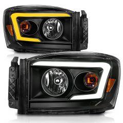 DODGE RAM 1500 06-08/ 2500/3500 06-09 SWITCHBACK HEADLIGHTS BLACK AMBER (W/ C LIGHT BAR)