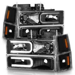 CHEVY CK / C10 /SILVERADO/ TAHOE / SUBURBAN/BLAZER 94-98 HEADLIGHTS W/ SIGNAL & SIDE MARKERS (8PCS) SET BLACK HOUSING CLEAR LENS W/ C LIGHT BAR