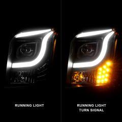 GMC YUKON/YUKON XL 15-17 PROJECTOR LIGHT BAR STYLE HEADLIGHTS BLACK CLEAR AMBER