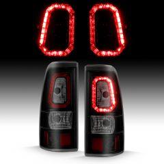 CHEVY SILVERADO 1500/1500HD/2500/2500HD 03-06 3500 04-06 1500/2500/3500 CLASSIC 07 LED TAILLIGHTS PLANK STYLE  BLACK W/SMOKE LENS