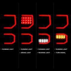 TOYOTA TUNDRA 07-13 LED TAILLIGHTS PLANK STYLE  BLACK W/SMOKE LENS