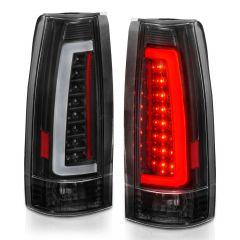 Chevy/GMC C/K 1500/2500/3500 88-99, SUBURBAN/YUKON 92-99, TAHOE 95-00, BLAZER 92-94, CADILLAC ESCALADE 99-00 LED C-BAR TAIL LIGHTS BLACK HOUSING CLEAR LENS