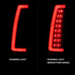 CHEVY/GMC C/K 1500/2500/3500 88-99, SUBURBAN/YUKON 92-99, TAHOE 95-00, BLAZER 92-94, CADILLAC ESCALADE 99-00 LED C-BAR TAIL LIGHTS BLACK HOUSING SMOKE LENS