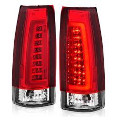 CHEVY/GMC C/K 1500/2500/3500 88-99, SUBURBAN/YUKON 92-99, TAHOE 95-00, BLAZER 92-94, CADILLAC ESCALADE 99-00 LED C-BAR TAIL LIGHTS CHROME HOUSING RED/CLEAR LENS
