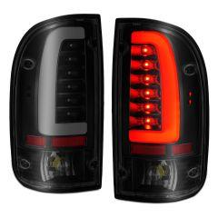 TOYOTA TACOMA 95-00 LED TAILLIGHTS BLACK HOUSING SMOKE LENS