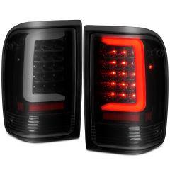 FORD RANGER 93-97 LED TAIL LIGHTS BLACK HOUSING SMOKE LENS (W/ C LIGHT BAR)