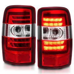 CHEVROLET TAHOE/SUBURBAN/GMC DENALI 00-06 LED TAIL LIGHTS RED/CLEAR LENS CHROME HOUSING