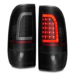 FORD F-150/250 97-03 LIGHTDUTY / F-250/F-350 SUPERDUTY 99-07 LED TAIL LIGHTS BLACK HOUSING SMOKE LENS W/ C LIGHT BAR