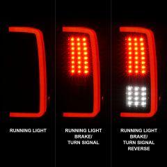 CHEVROLET SILVERADO 1500 07-13 / 2500HD/3500HD 07-14 /1500 HYBRID 09 LED TAIL LIGHTS G5 BLACK HOUSING SMOKE LENS (W/ WHITE LIGHT BAR)