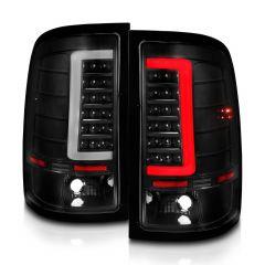 GMC SIERRA 1500 07-13 (EXCEPT '07 CLASSIC) / SIRRA 2500/3500 '07-'14(SINGLE REAR WHEEL) LED TAIL LIGHTS BLACK HOUSING CLEAR LENS W/ C LIGHT BAR