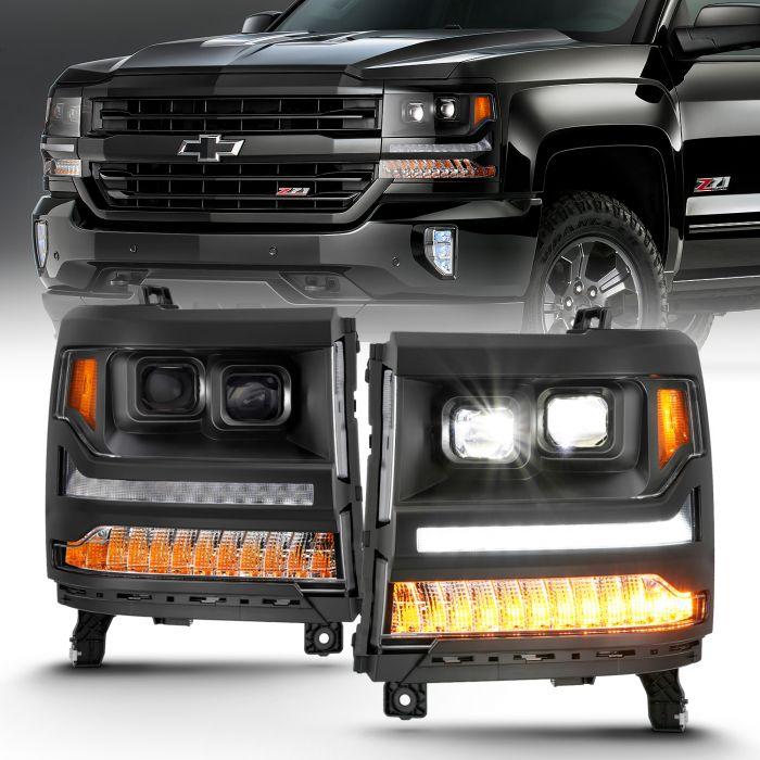CHEVY SILVERADO 1500 16-18 LED PROJECTOR PLANK STYLE HEADLIGHTS BLACK AMBER