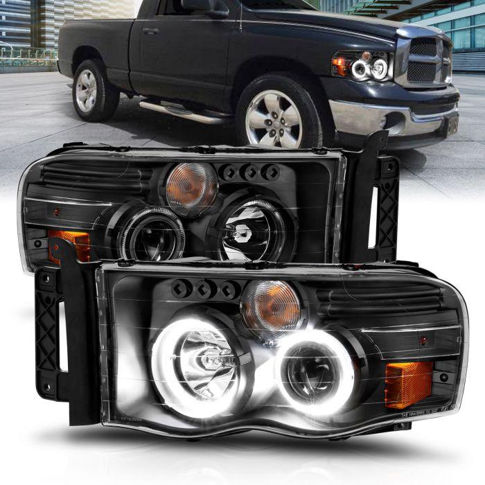 DODGE RAM 1500 02-05 RAM 2500/3500 03-05 PROJECTOR HEADLIGHTS W/ HALO BLACK CLEAR AMBER