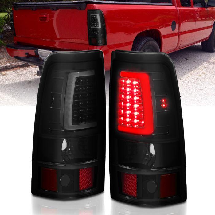 CHEVY SILVERADO 1500/1500HD/2500/2500HD 03-06 3500 04-06 1500/2500/3500 CLASSIC 07 LED TAILLIGHTS PLANK STYLE  BLACK W/SMOKE LENS PAiR