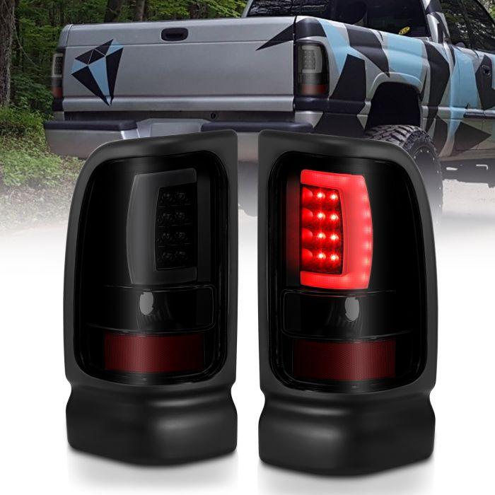 DODGE RAM 1500 94-01 2500/3500 94-02 LED TAILLIGHTS PLANK STYLE  BLACK W/SMOKE LENS