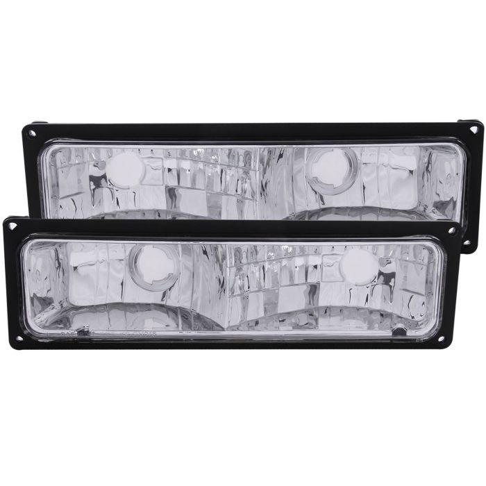 CHEVY/GMC C/K1500/2500 88-98 / C/K3500 88-00 / SUBURBAN 92-99 / BLAZER (full-size) 92-94 / TAHOE 95-99 / YUKON 92-99 EURO PARKING/SIGNAL LIGHTS CHROME w/ BLACK FRAME CLEAR LENS