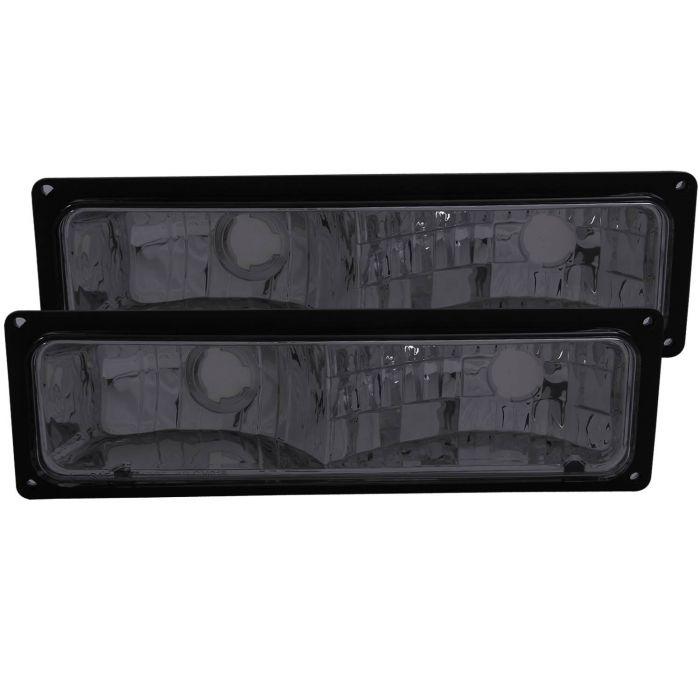 CHEVY/GMC C/K1500/2500 88-98 / C/K3500 88-00 / SUBURBAN 92-99 / BLAZER (full-size) 92-94 / TAHOE 95-99 / YUKON 92-99 EURO PARKING/SIGNAL LIGHTS SMOKE LENS BLACK FRAME